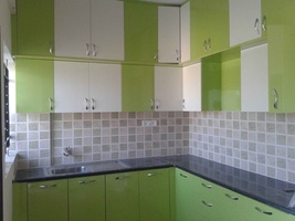 Kitchen Cabinets in Green and White