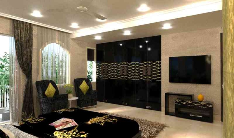Residence in alipore by cmnk design solutions interior for Bedroom wallpaper designs india