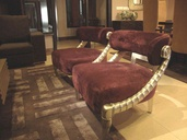CURVED CHAMPAGNE LEAFING ARMCHAIRS-CARPET-FENDI REPLICA