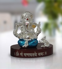 Buy Ganesha with Wooden Base (Blue)