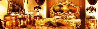 Luxury handcrafted Gold leaf  European style antique bedroom set