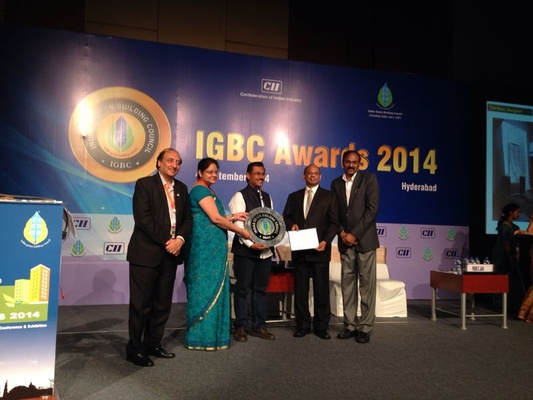 Architect Nilanjan Bhowal receiving the Platinum Level Certification Award from IGBC