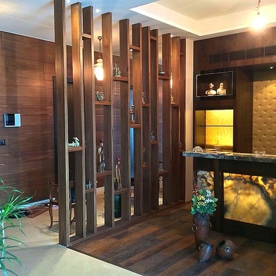 Wooden glass partition designs for home crowdbuild for for Foyer designs for apartments india