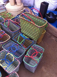 Wicker baskets in lively colors