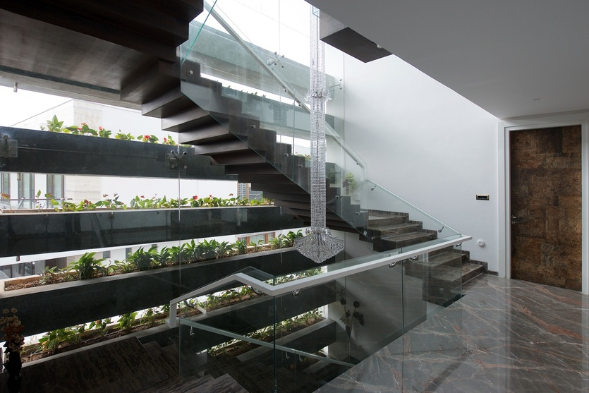 Glass Partition with Staircase