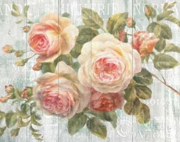Vintage Roses on Driftwood Poster