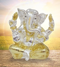Buy Online Gold and Silver Ganesha 4-Arms