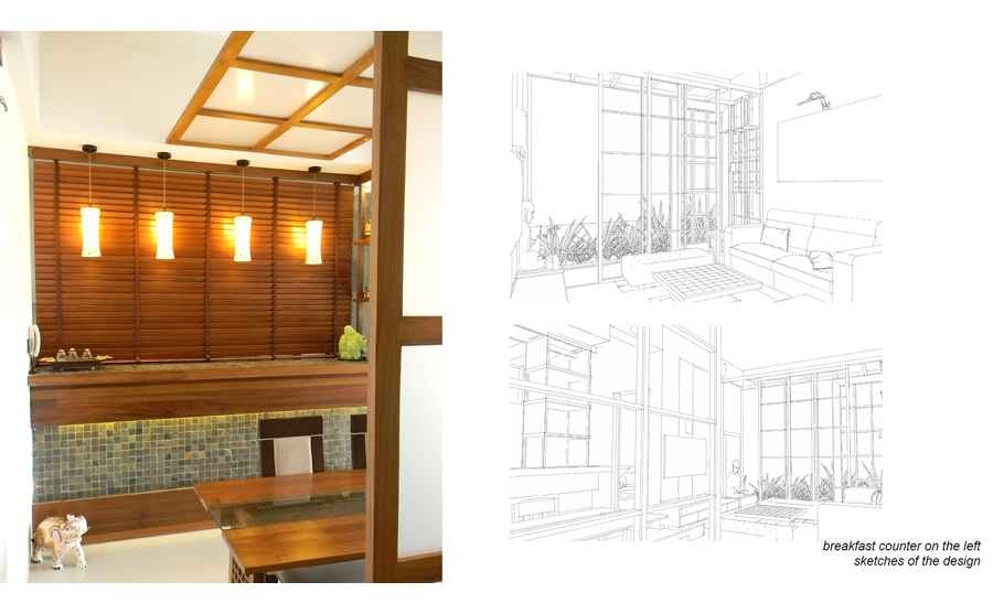 Breakfast Cum Bar Counter With Interior View Sketches