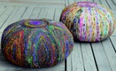 Silk Lane Recycled Silk Poufs