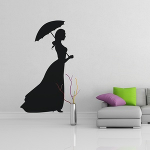 Lady with Umbrella Wall Decal ( KC129 )