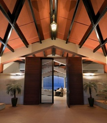 Living Room Entrance with Hut Shaped Ceiling