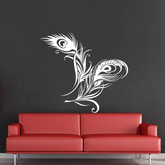wall decal peacock feather wall decal kc139 kakshyaachitra india. Black Bedroom Furniture Sets. Home Design Ideas
