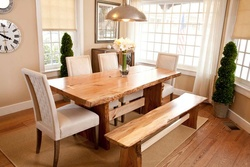 Natural Wood Cut Dining Table Set