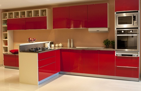 A Magical Red kitchen with open counter !!