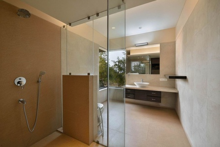 modern bathroom with glass wall