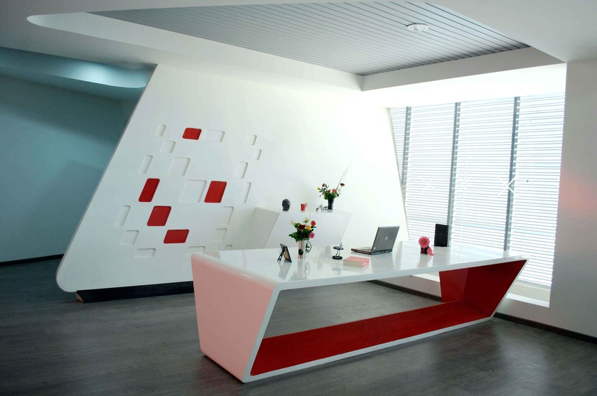 Pbs son corporate office by inform architects architect for Modern office reception backdrop design
