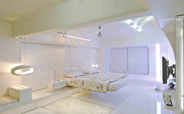 Pristine White Bedroom with Modern Bed