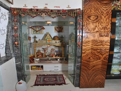 pooja mandir with glass door drawer designed by 999 interiors ...