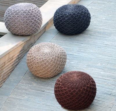 Athena Rope Knit Cotton Pouf