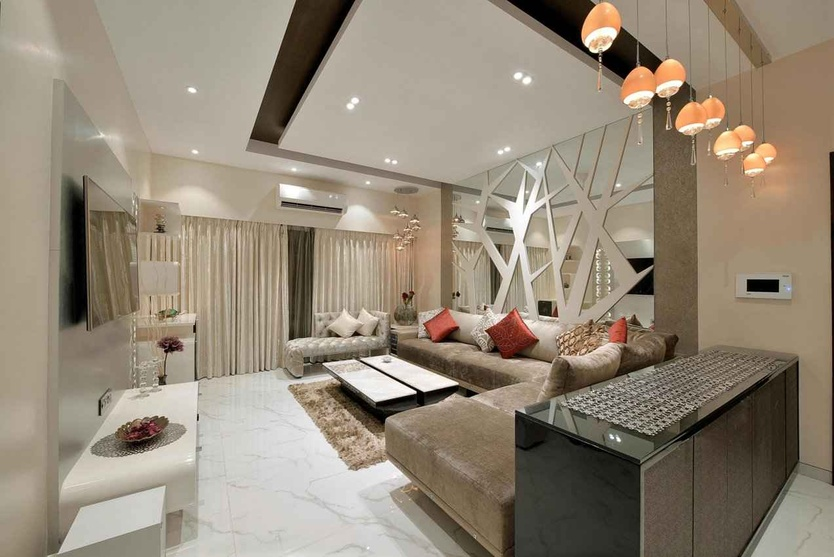 Large Living Room with Hanging Ceiling Light