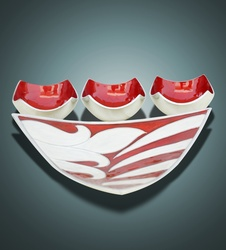 Buy Decorative Abstract Triangle Tray with Three Bowls (Red)
