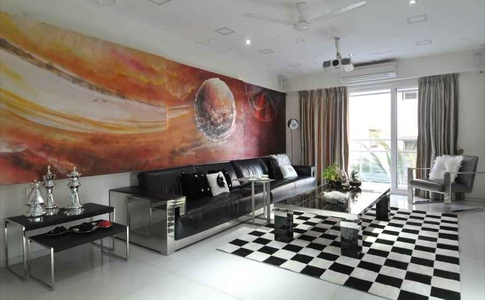 Black and White Living Room with colorful Wall Art