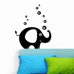 Elephant With Bubbles Wall Decal ( KC031 )