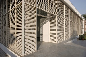 The louvered facade