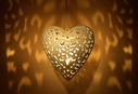 Iron White Finish Heart Hanging With Handmade Cutwork - Small