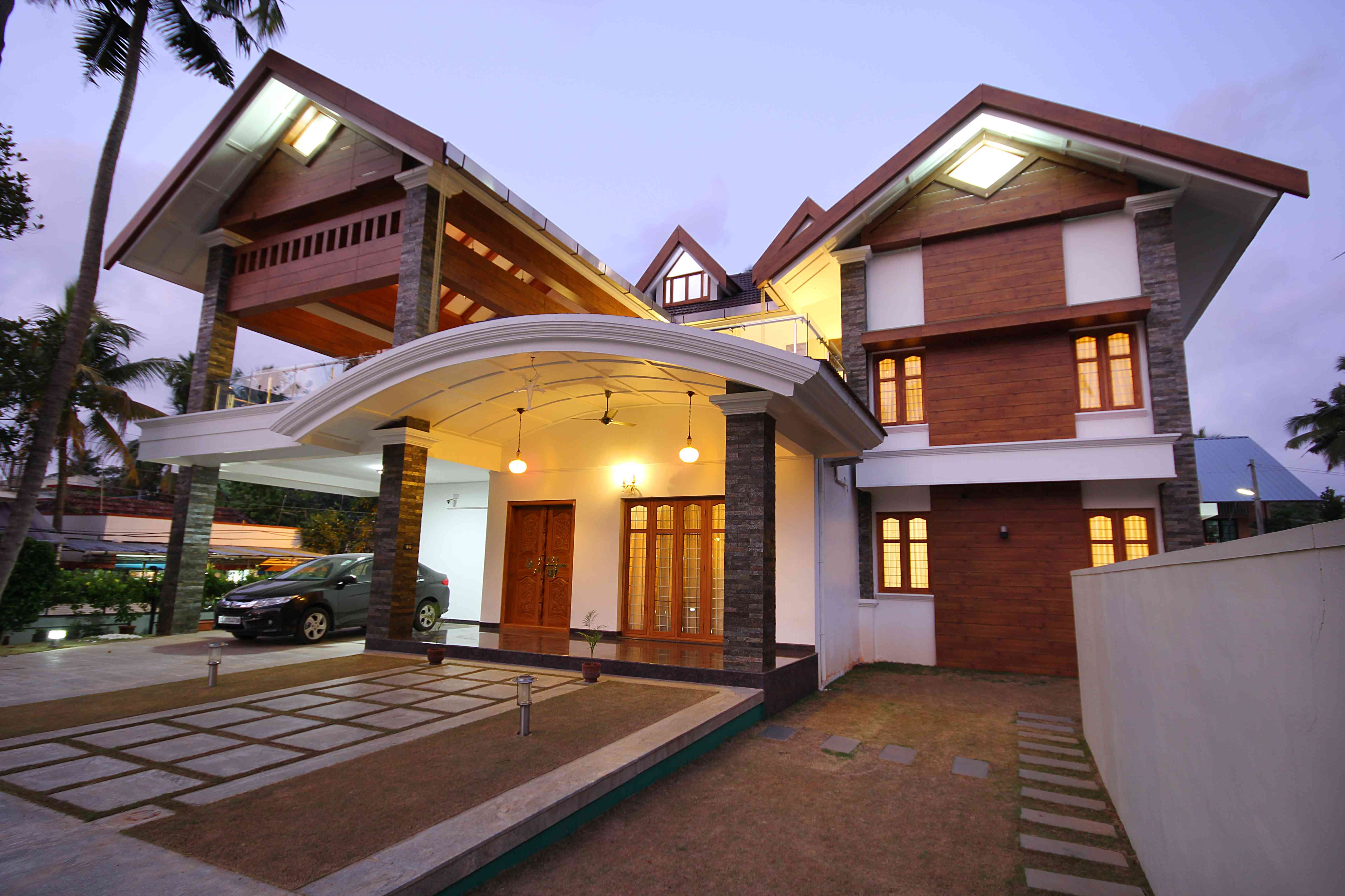 Front Elevation Slanting Roof Design : Home design exterior ideas in india