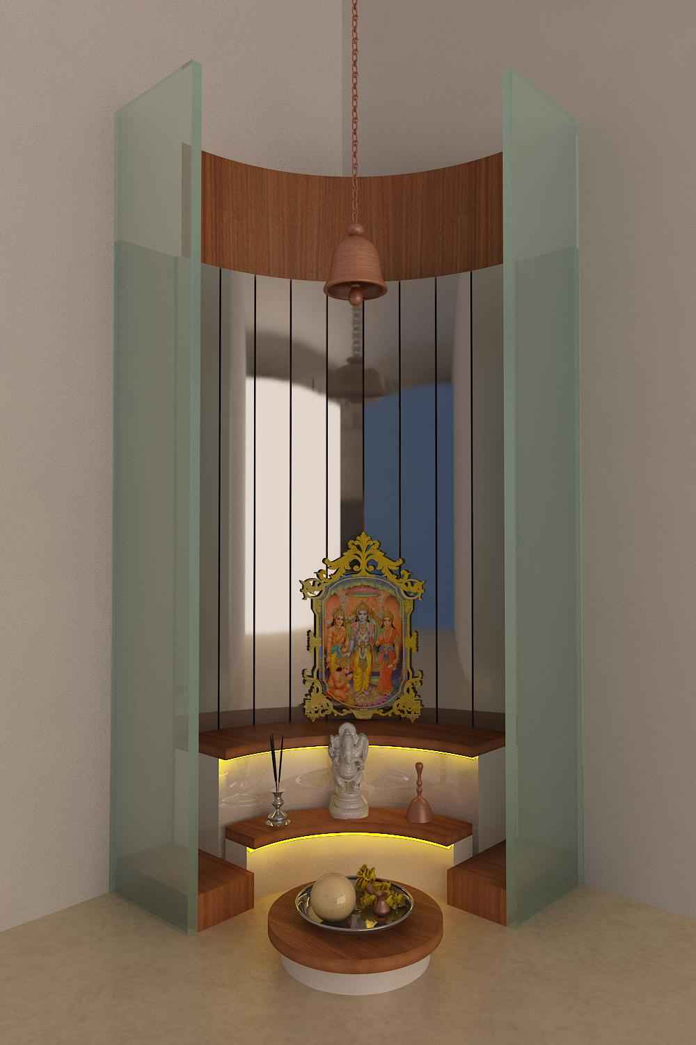 Glass Pooja Room Design