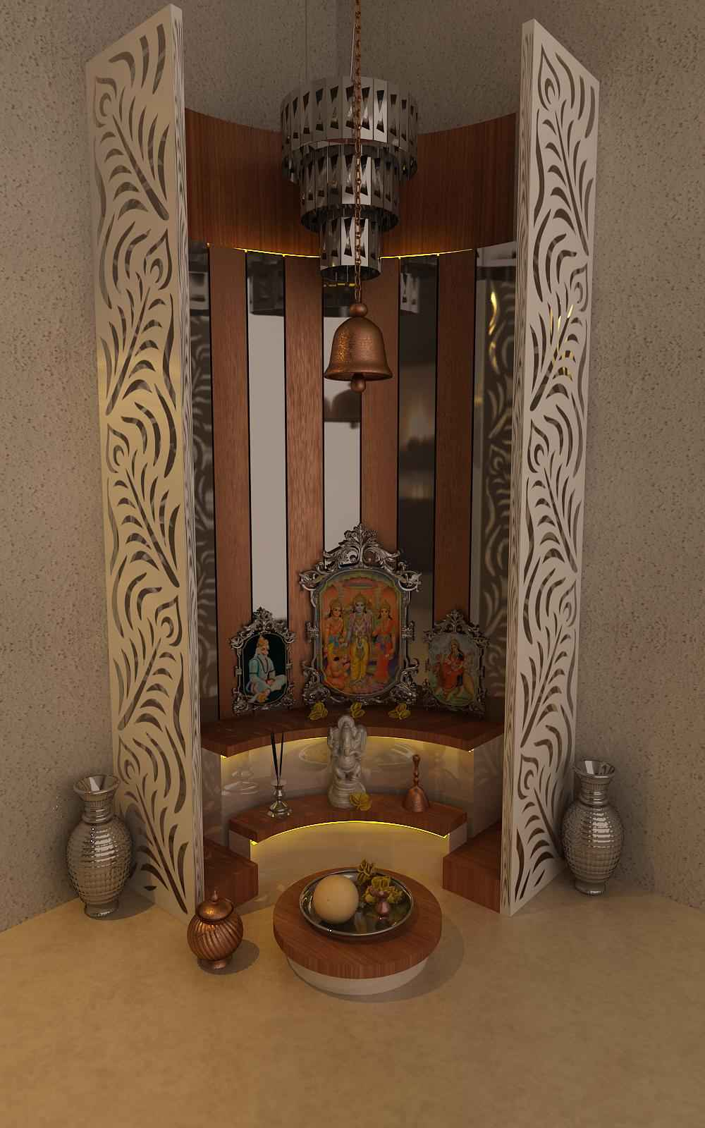 Pooja interior design inspiration for Home mandir designs marble
