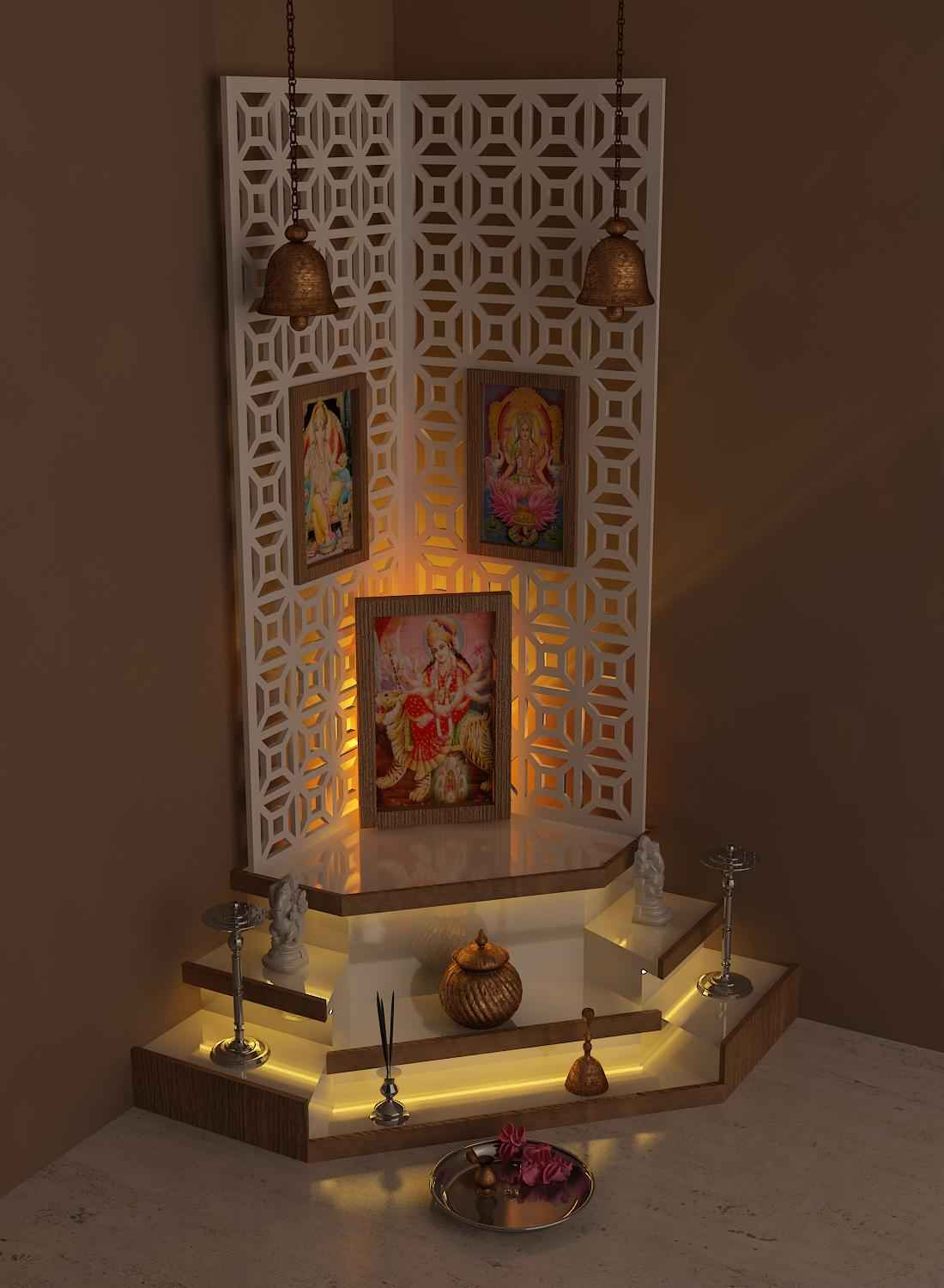 Pooja mandir designs for home pooja mandir interior design ideas for Marble temple designs for home